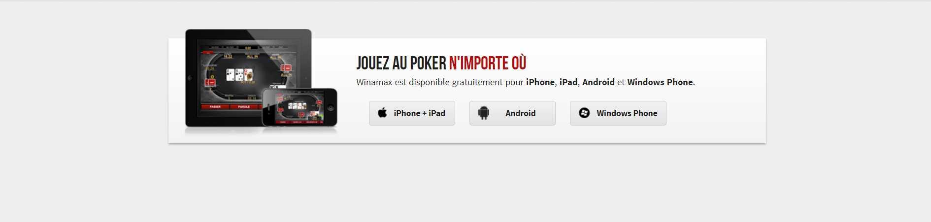 Telecharger l'application de Winamax pour le poker